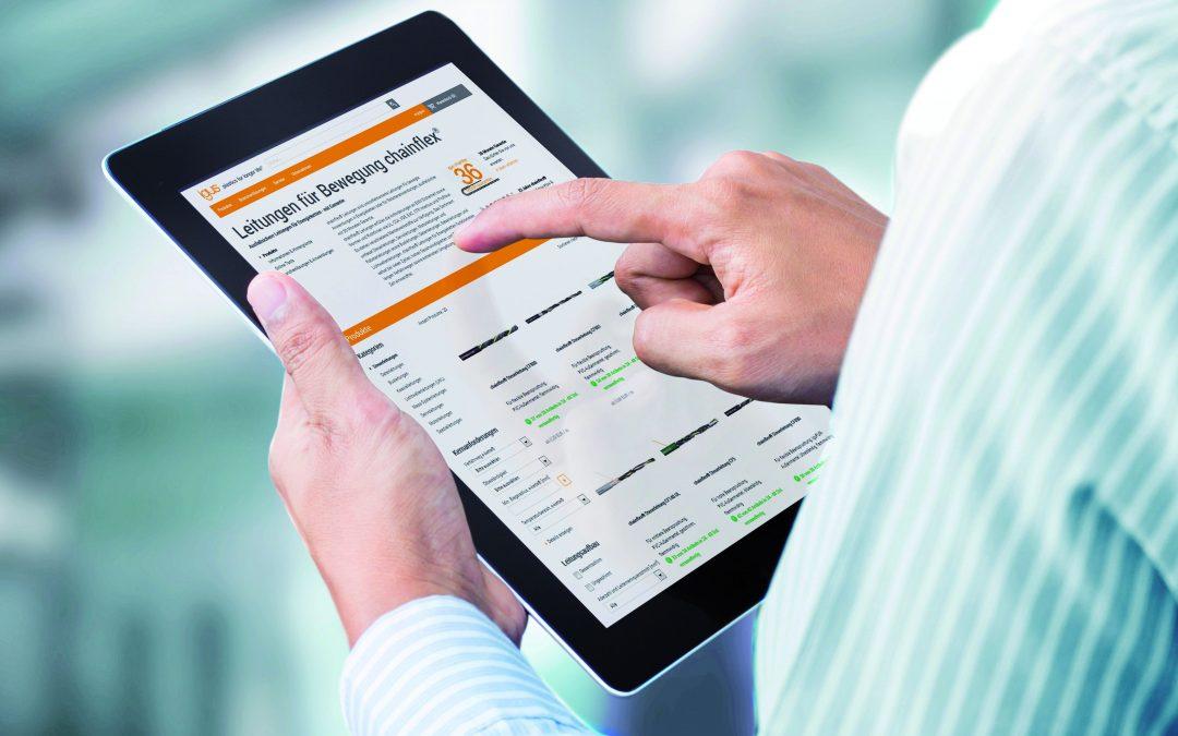 Online schnell zur günstigsten E-Ketten-Leitung, dank intuitiver Seitennavigation