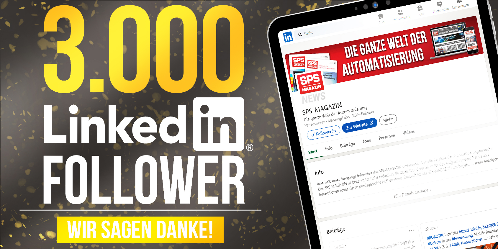 3.000 LinkedIn-Follower für das SPS-MAGAZIN