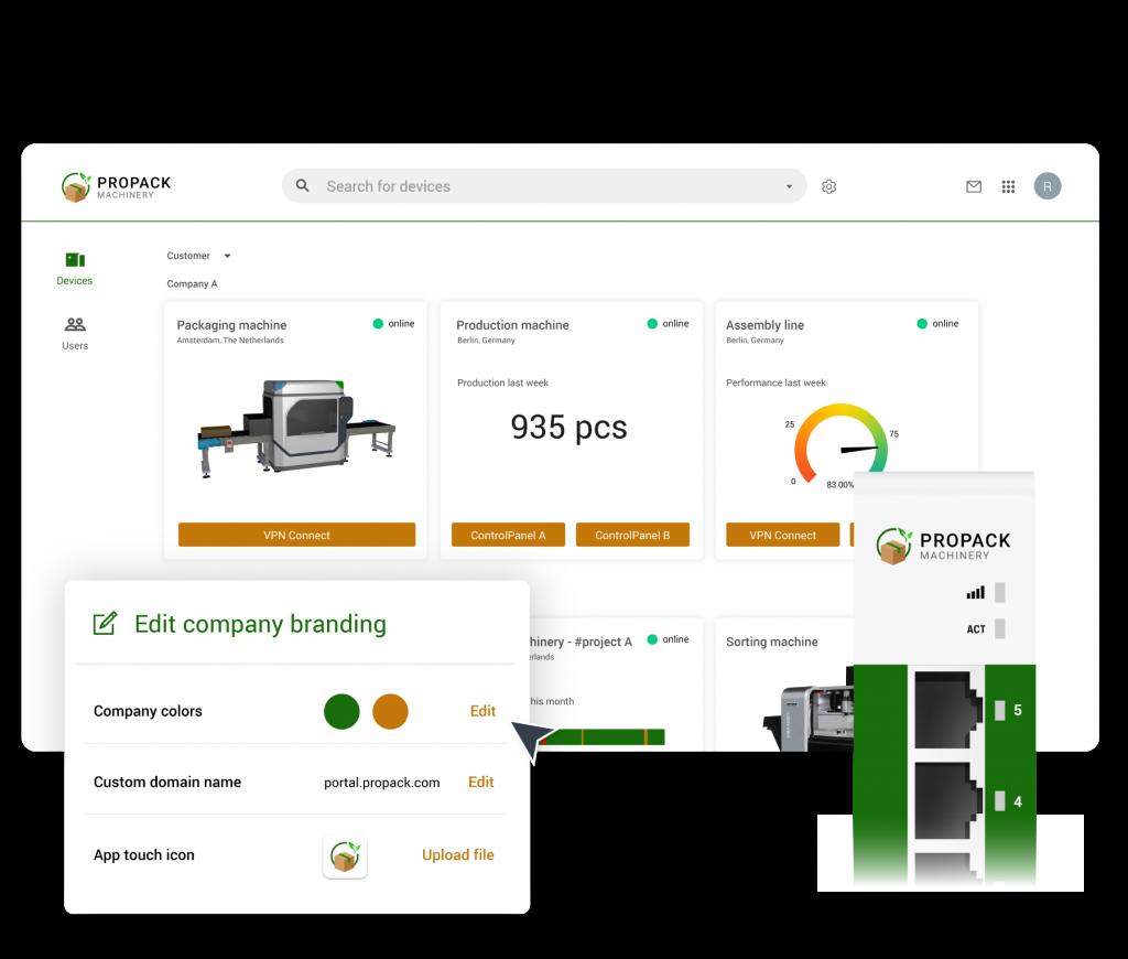 Die Ixon-Plattform lässt sich weitreichend an das Corporate Design des Anwenders anpassen. Somit bewegen sich die Maschinenbetreiber beim Einsatz der Software stets in der Markenwelt des Maschinenherstellers.