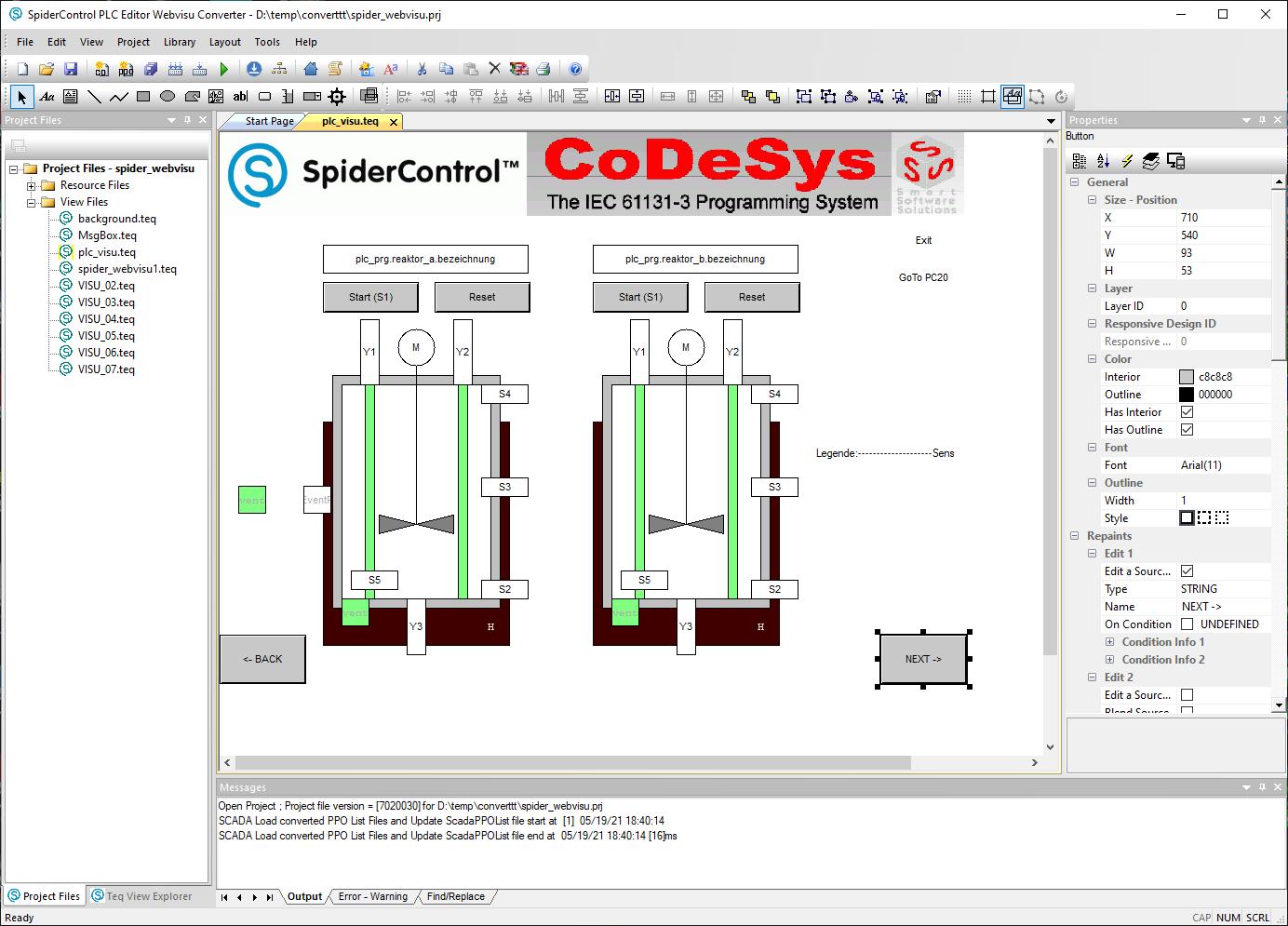 Tool für Codesys-Webvisu-Konversion in HTML5