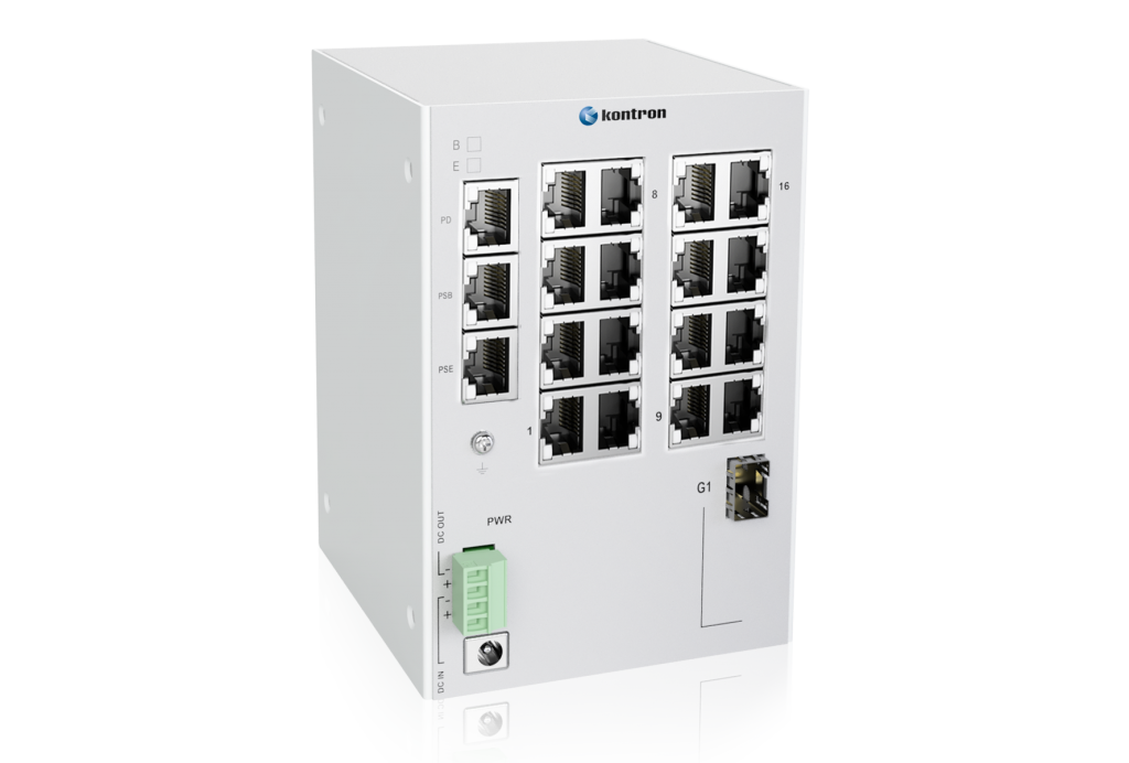 Der KSwitch D3 UMPD von Kontron ist ebenfalls mit Power-over-Ethernet-Funktion ausgerüstet.