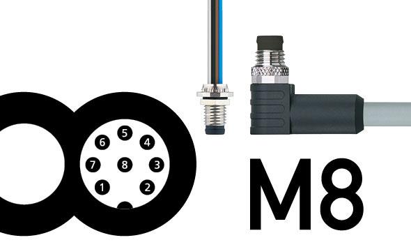 Hochpolige M8-Steckverbinder