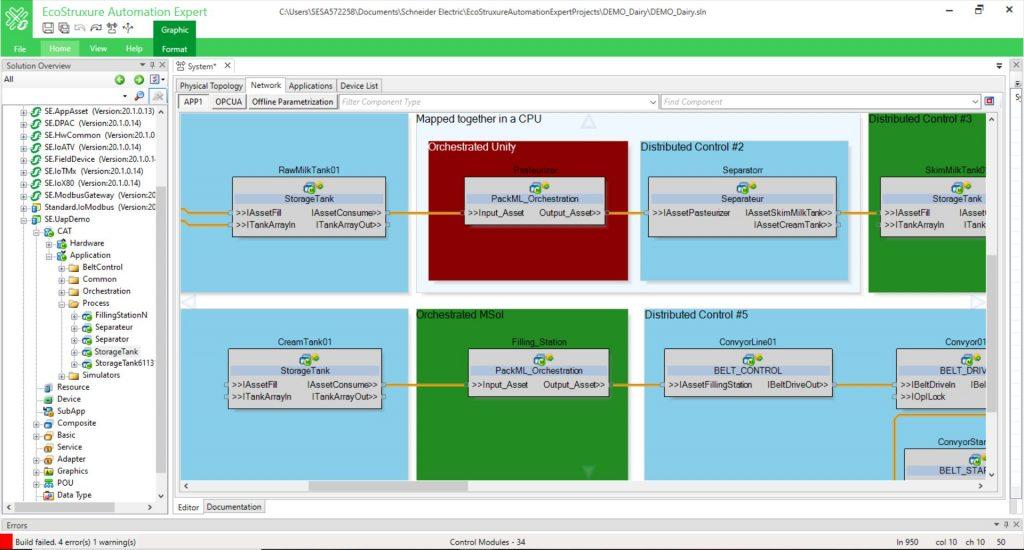 Die Benutzeroberfläche von EcoStruxure Automation Expert. Mithilfe von vorgefertigten Funktionsblöcken lassen sich automatisierte Anwendungen rein softwarezentriert modellieren.