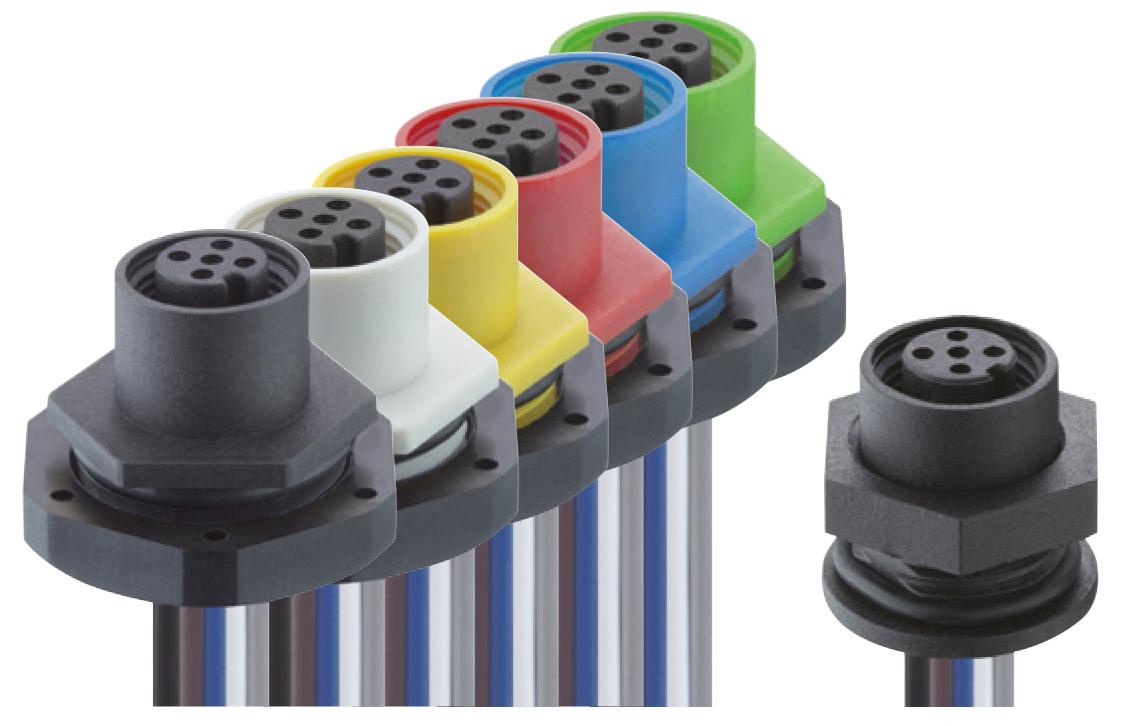 Farbcodierte M12-Einbausteckverbinder