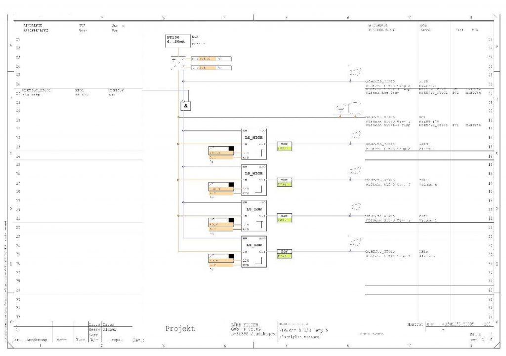 Alter Plan: Einzelplan Temperaturmessung in einer Kalklöschanlage