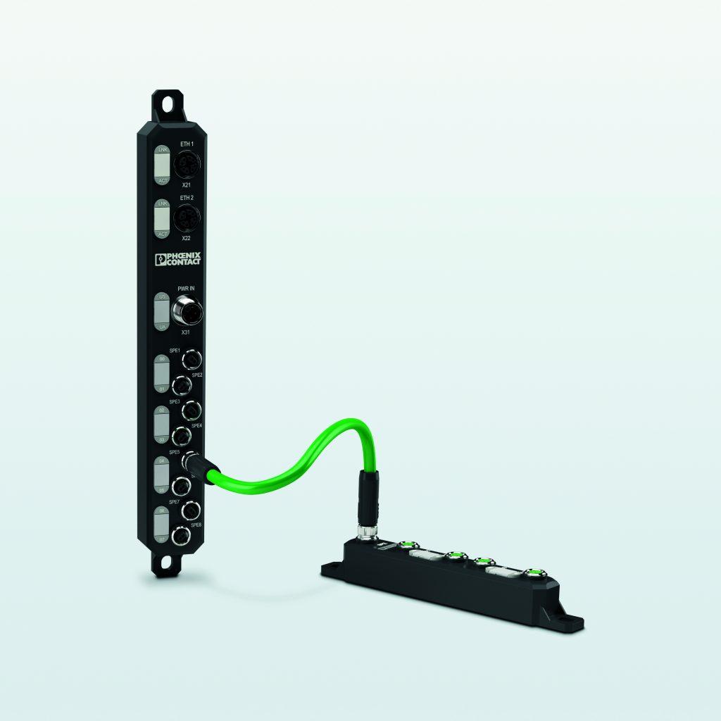M8-Programm: Die M8-Gerätesteckverbinder ermöglichen einen kompakten und standardisierten Anschluss für z.B. SPE-Switches oder Sensoren im Feld.