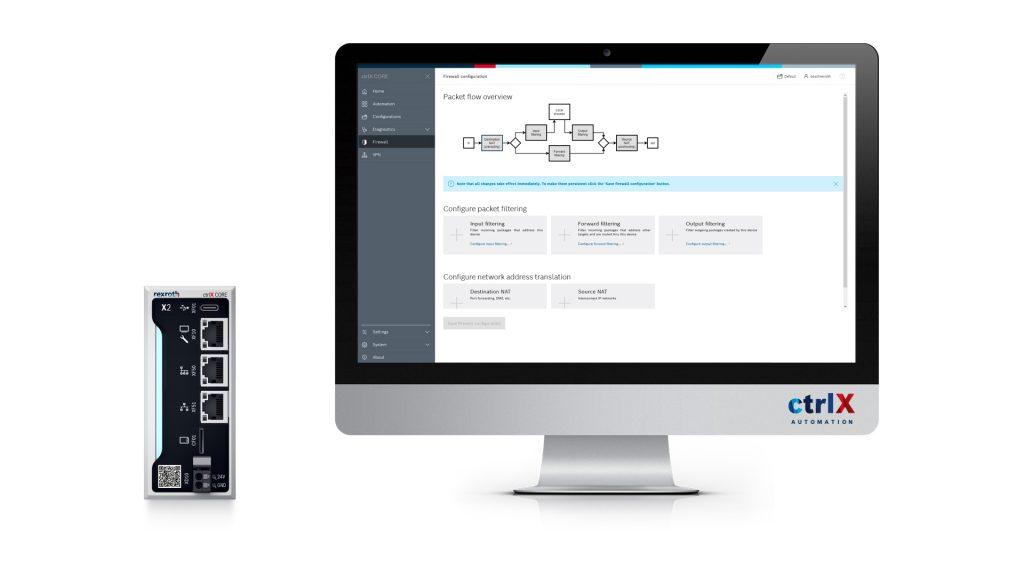 Die Steuerung ctrlX Core bietet eine All-in-One-Network-Appliance und gewährleistet somit hohe Sicherheit.